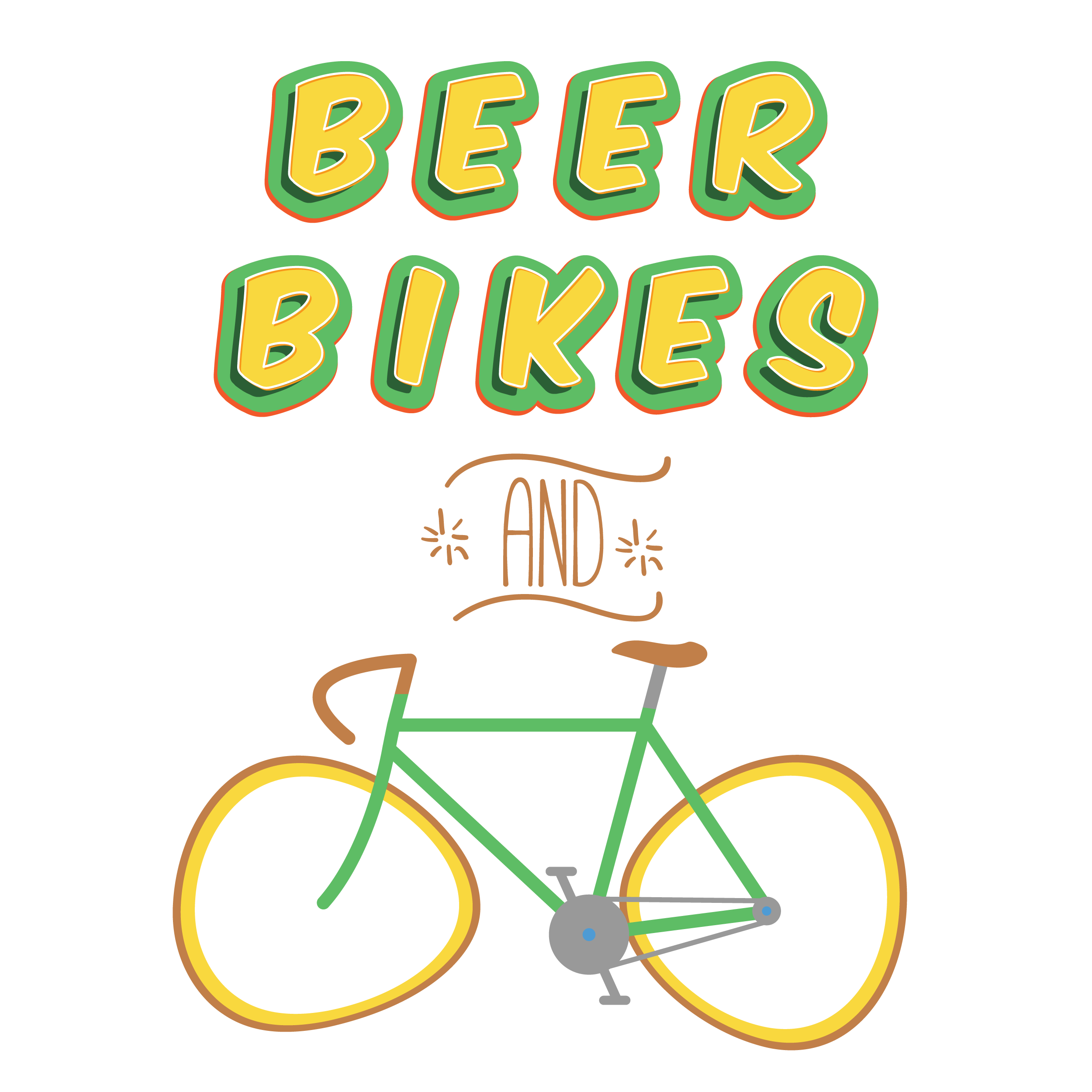 Beer Bikes and Image of a bicycle with tacoed wheels